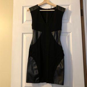 Talula mini bodycon dress w/ vegan leather cutouts
